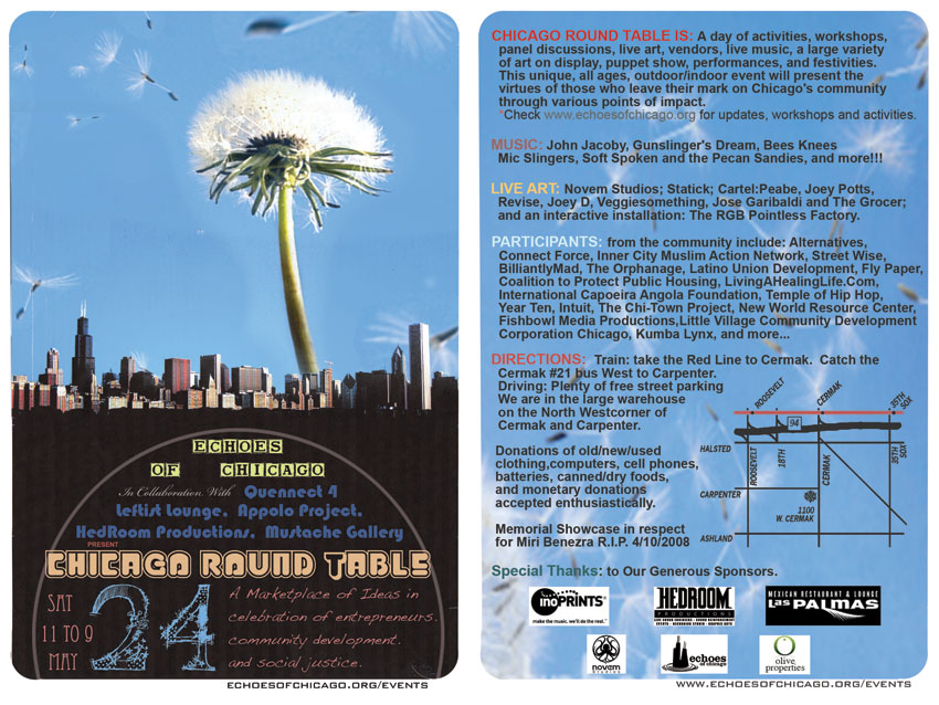 The Chicago Round Table Flyer. Front and Back